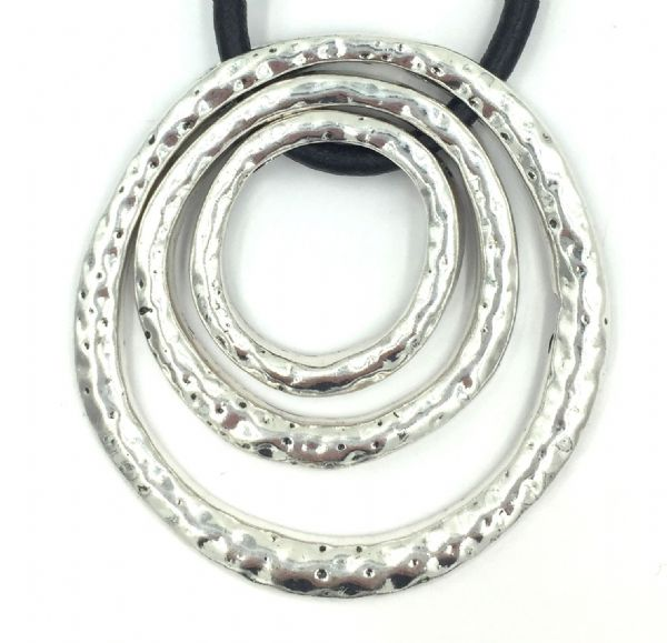 BIG Silver plated pendant - 3 rings cord not included diameter 7cm